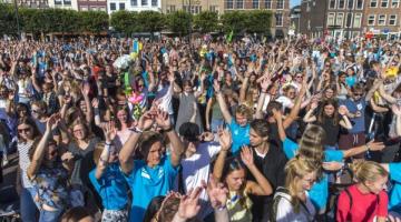 Studenten tijdens intro Universiteit Leiden